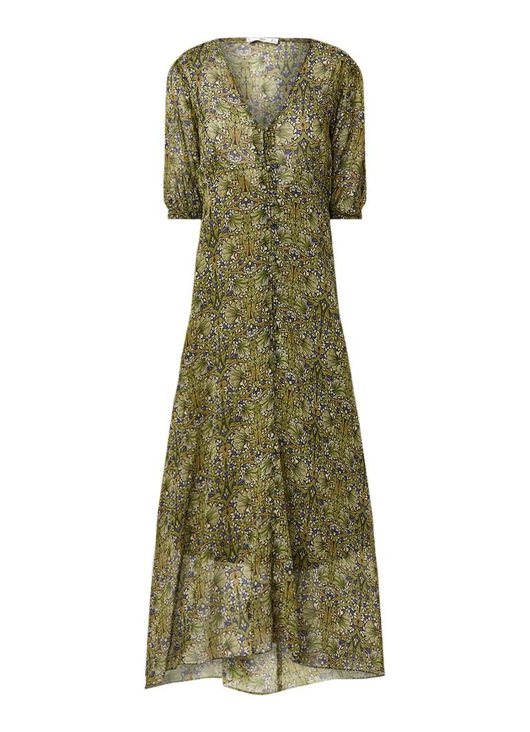 Mango Leonie maxi-jurk met V-hals en bloemendessin olijfgroen