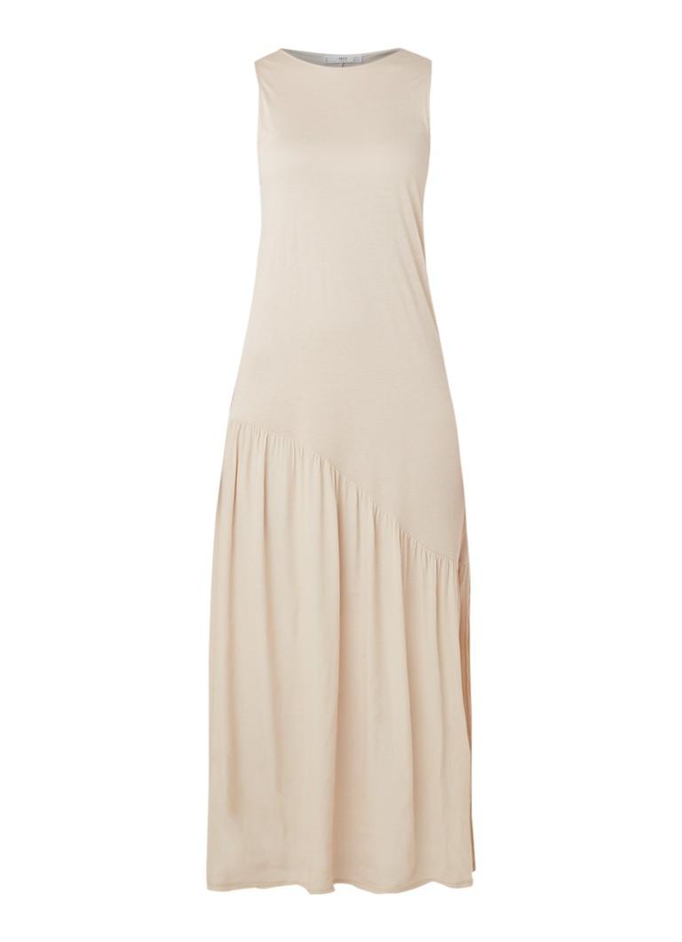 Mango Caramel maxi-jurk met gesmockt detail ivoor