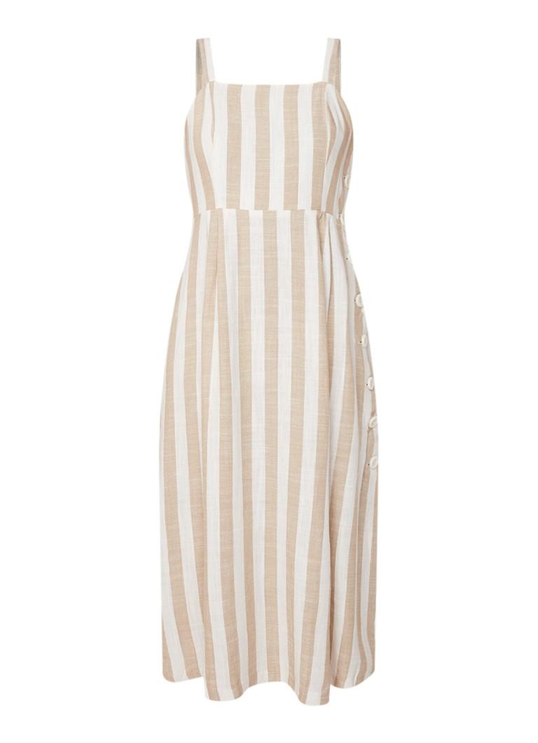 Mango Emilia midi-jurk in linnenblend met streepdessin beige