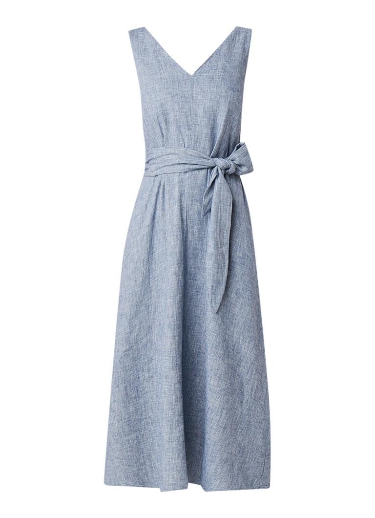 Mango Lina midi-jurk in linnenblend met strikceintuur indigo