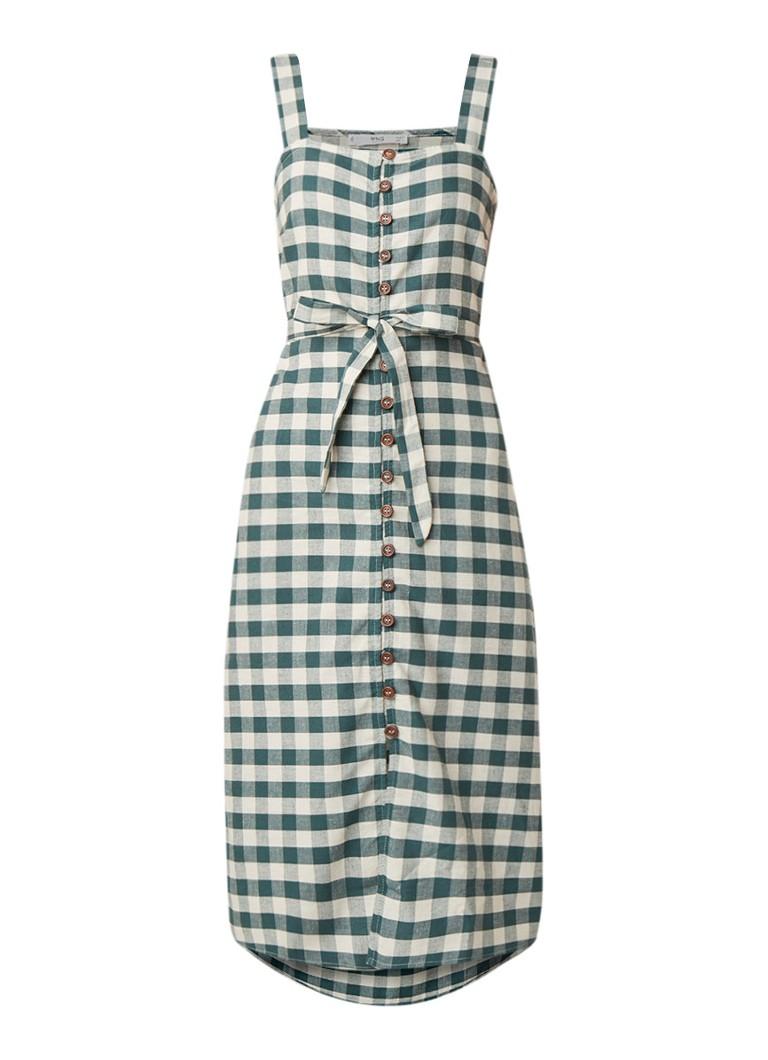 Mango Fruti midi-jurk met ruitdessin groen