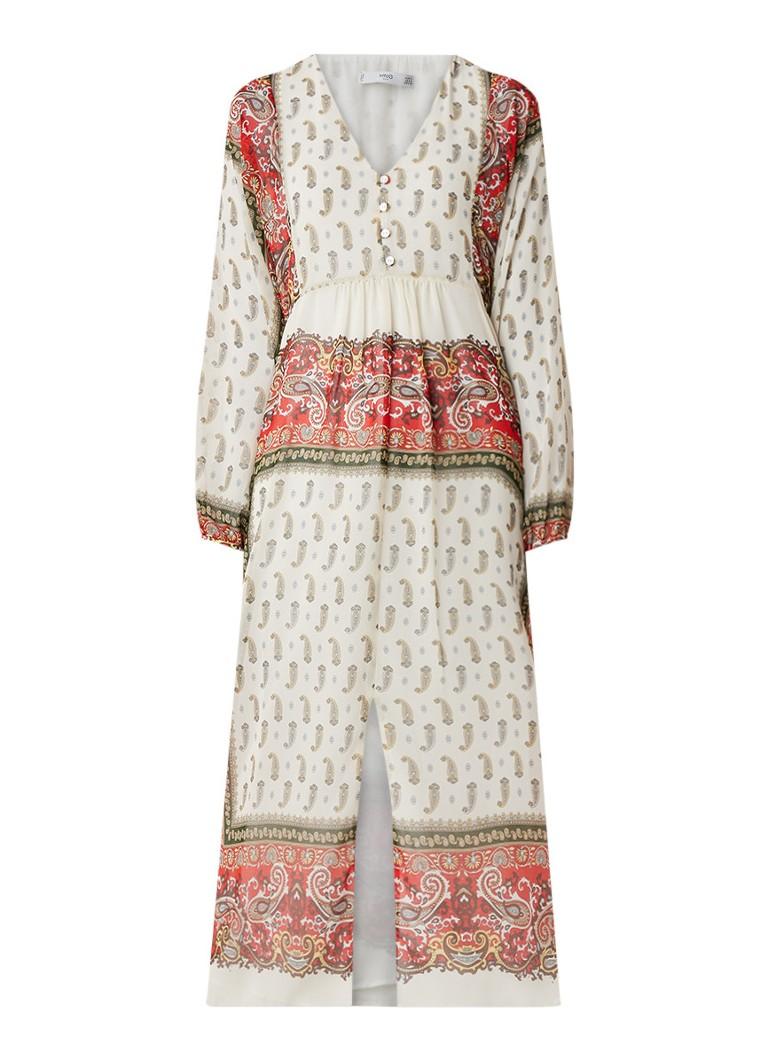 Mango Midi-jurk met ballonmouw en paisleydessin gebroken wit