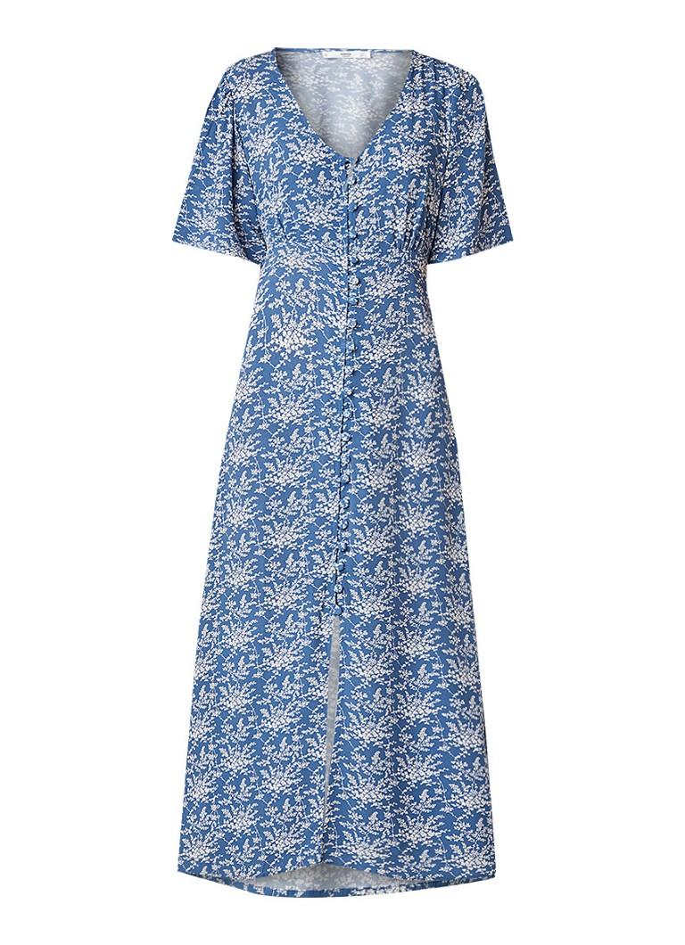 Mango Delhi maxi-jurk met bloemendessin staalblauw