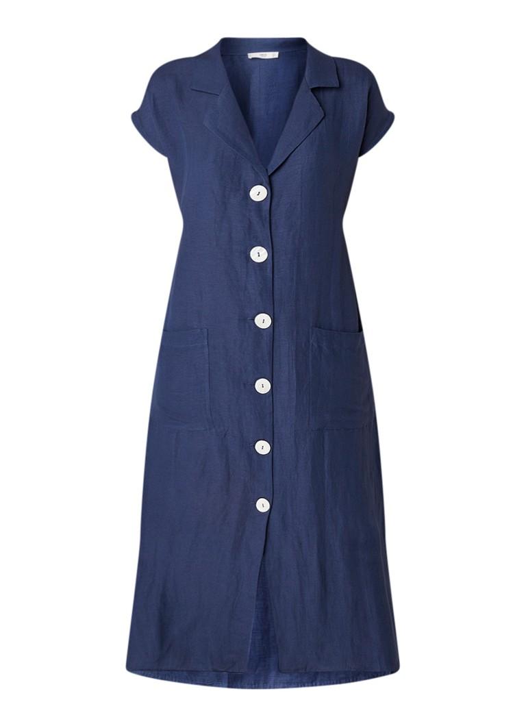 MANGO Linea midi-jurk in linnenblend