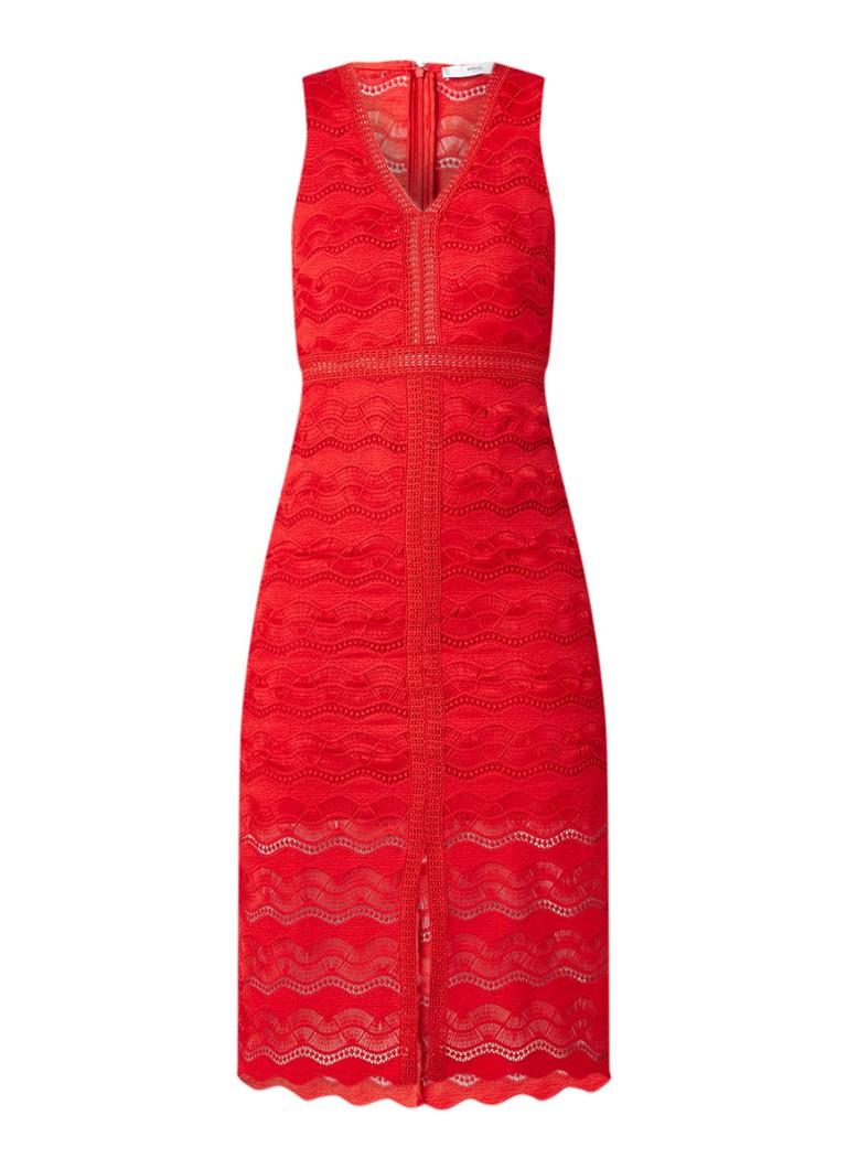 Mango Saray midi-jurk van kant met V-hals rood
