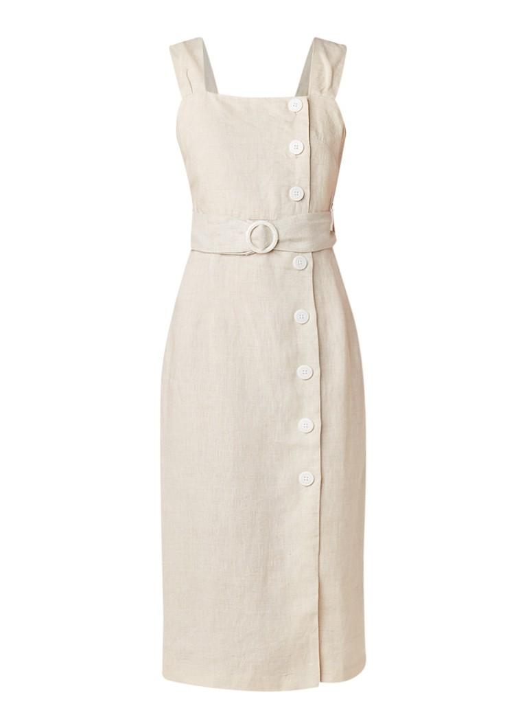Mango Capri midi-jurk van linnen met tailleriem beige