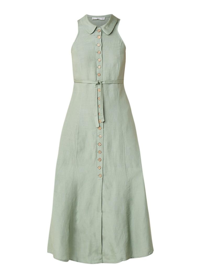 Mango Mouwloze maxi-jurk in linnenblend met kraag lindegroen