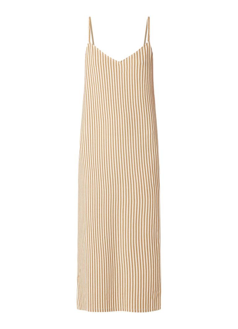 Mango Libra mouwloze midi-jurk met streepdessin beige