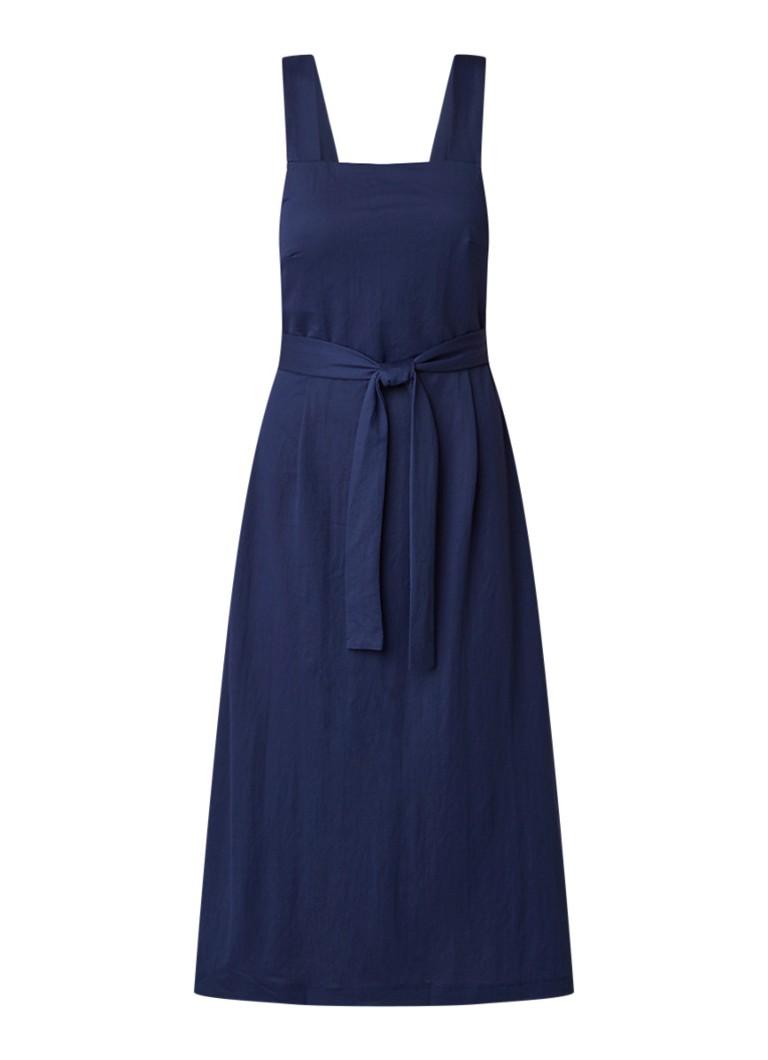 Mango Alpha mouwloze midi-jurk met strikceintuur middenblauw