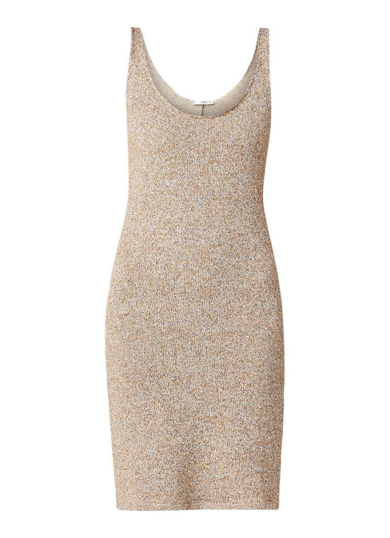 Mango Oasis gemêleerde mouwloze midi-jurk lichtbruin
