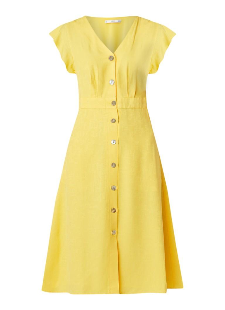 Mango Fulham doorknoopjurk met volantmouw geel