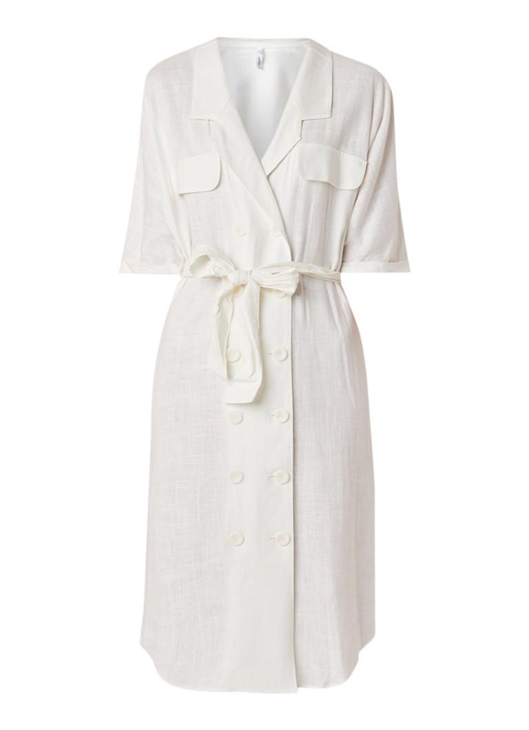 Mango Didi blousejurk van linnen met strikceintuur gebroken wit