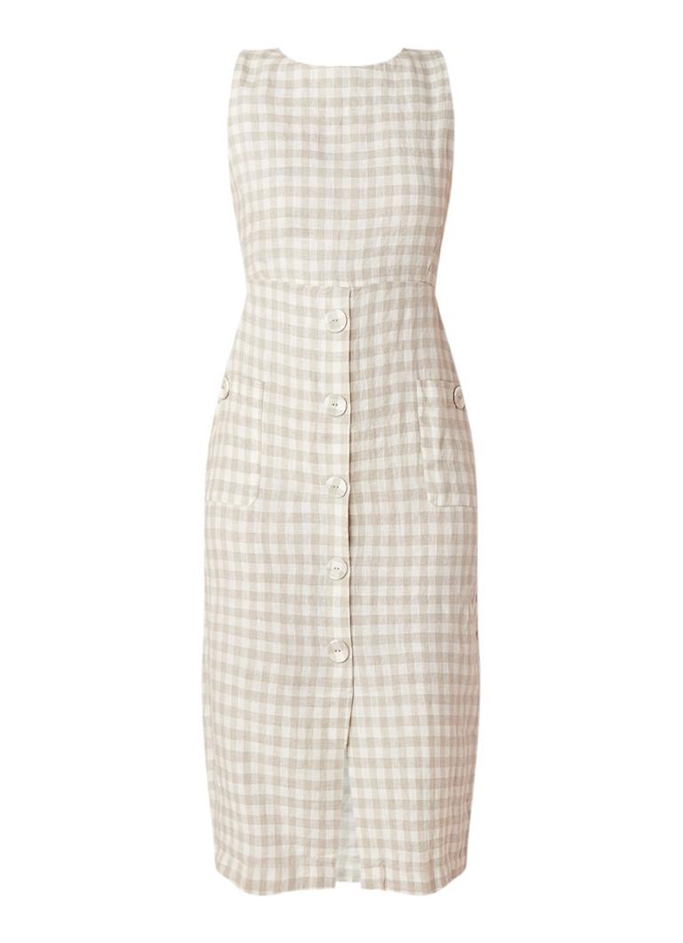 Mango Wood midi-jurk van linnen met ruitdessin beige