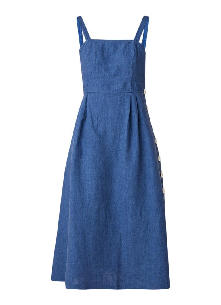 Mango Emilia midi-jurk van linnen met knoopsluiting middenblauw