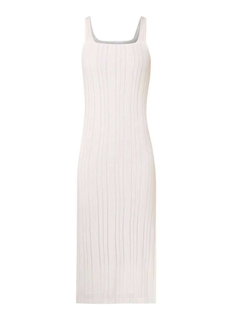 Mango Sahel ribgebreide midi-jurk met zijsplit wit