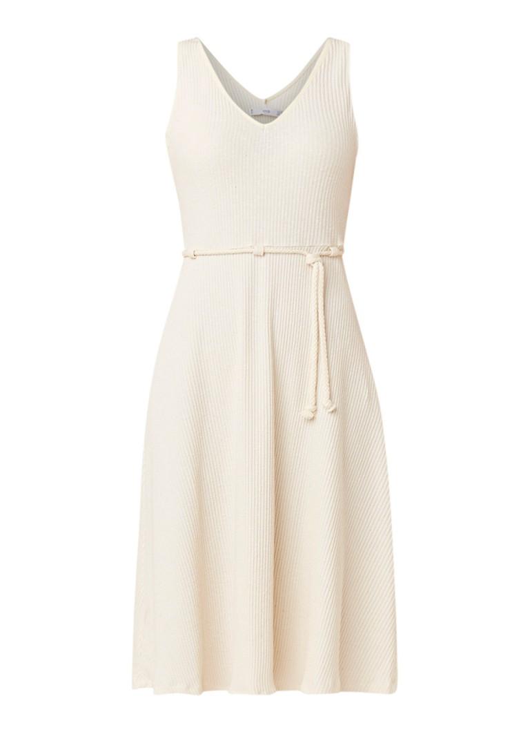 Mango Asshai ribgbreide midi-jurk met strikceintuur gebroken wit