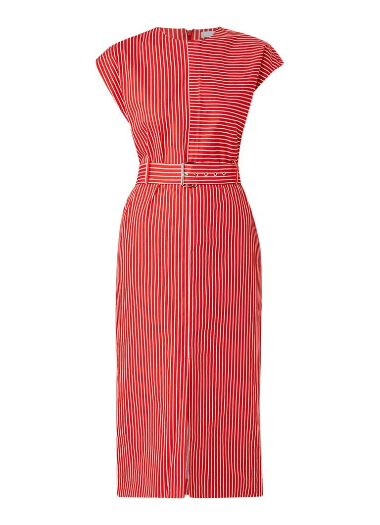 Mango Pala kokerjurk met streepdessin rood