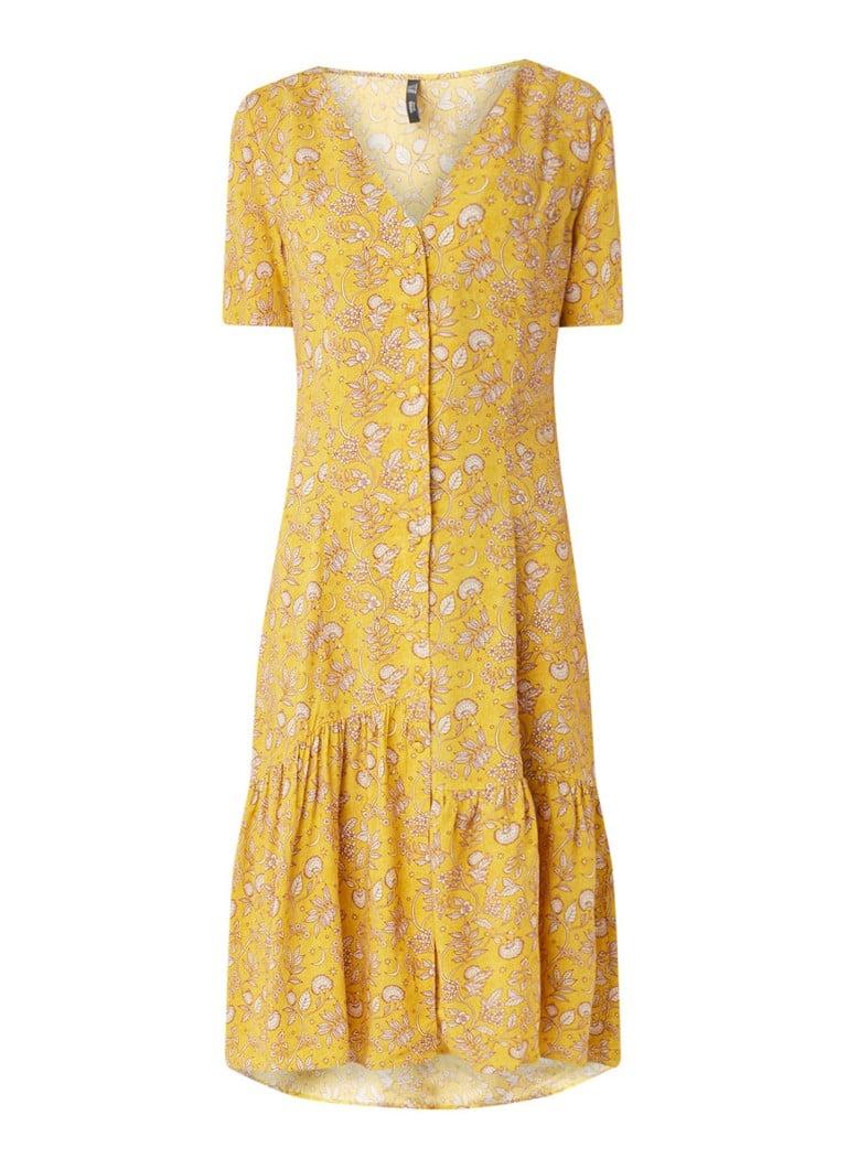 Mango Rodas midi-jurk met bloemendessin en volant geel