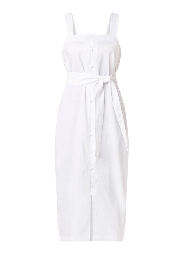 Mango Megan midi-jurk van linnen met knoopsluiting wit
