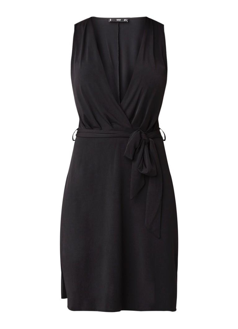 Mango Crossju mouwloze mini-jurk met strikceintuur zwart