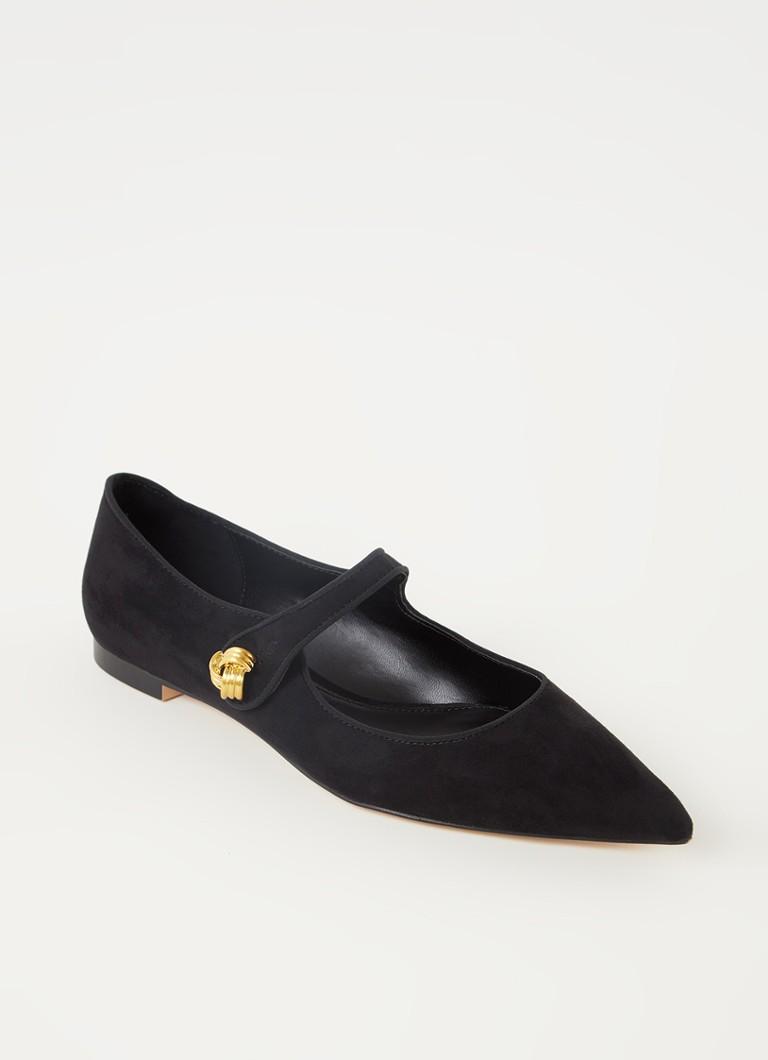 Mango Mary-Jane ballerina's met gouden knoopjes in zwart online kopen