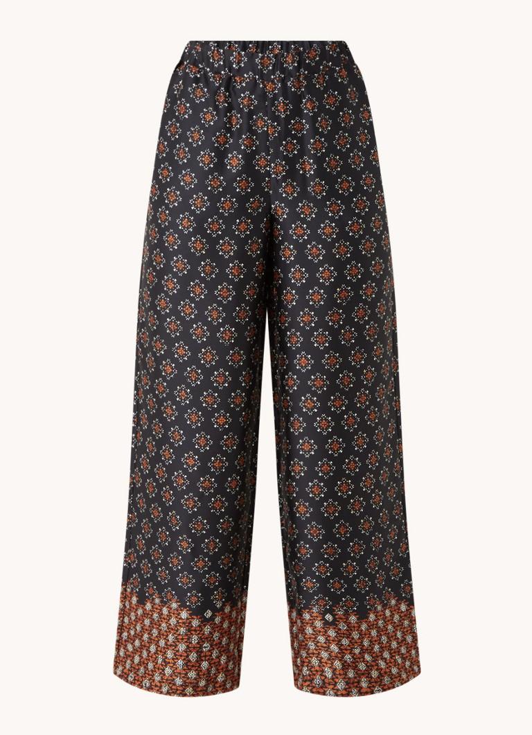 Afro high waist loose fit pantalon met print