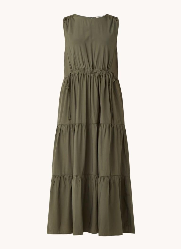 Abril mouwloze maxi jurk met volant en trekkoord