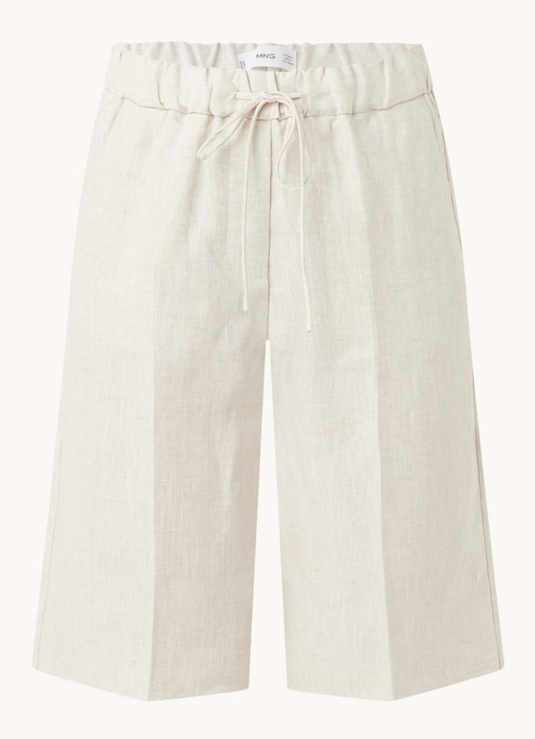 Agnes high waist straight fit korte pantalon van linnen