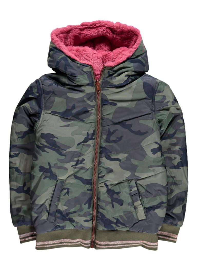 WE Fashion Maddie reversible bomberjack met imitatiebont en camouflageprint