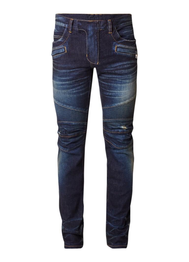 Balmain Used regular fit jeans met biker look
