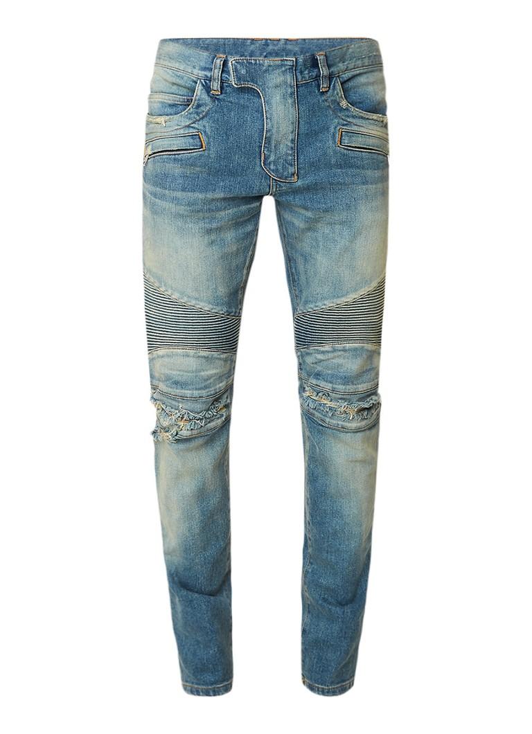 Balmain Slim fit jeans met destroyed details in biker look