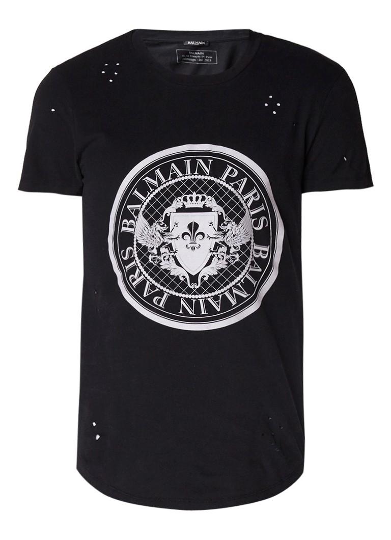 Balmain Isignia T-shirt met opdruk en destroyed afwerking