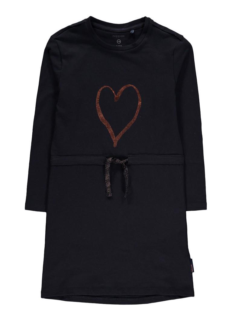 Noppies Nancy jersey jurk met trekkoord en metallic print