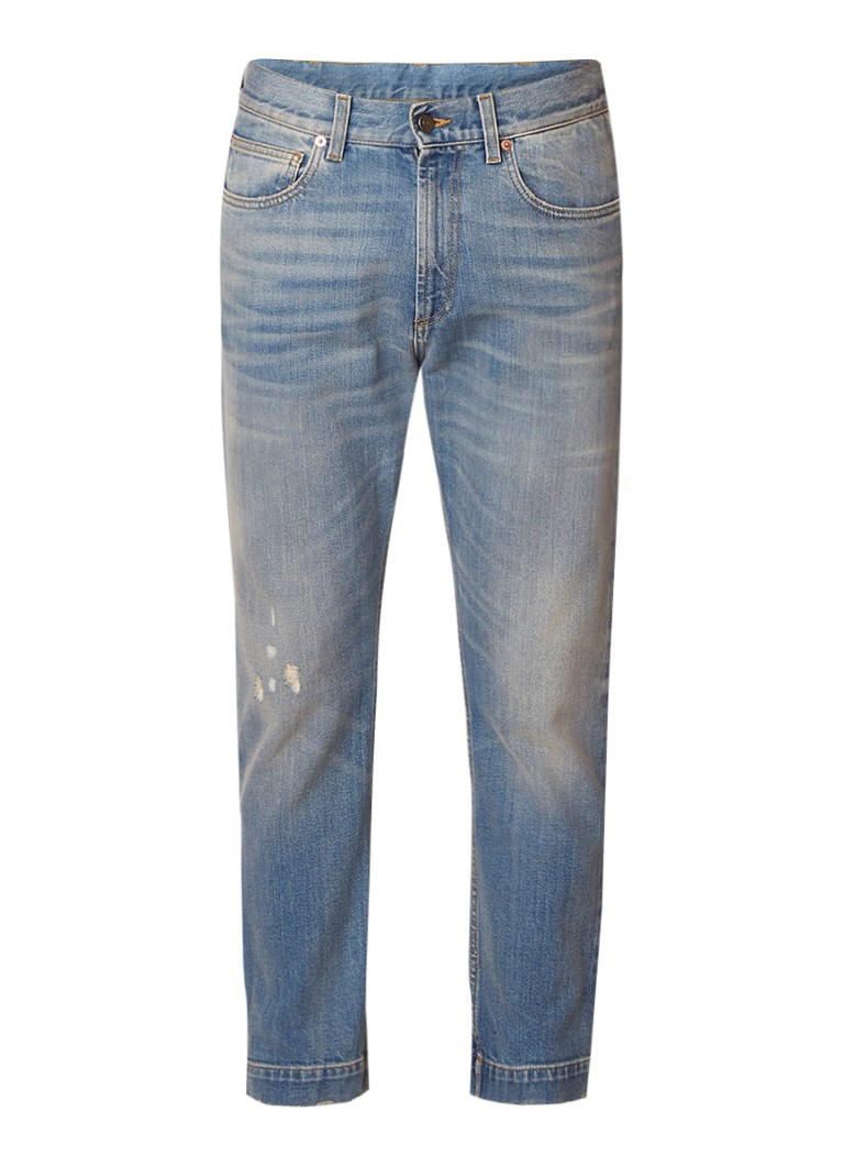 Gucci 60's cropped slim fit jeans met faded look