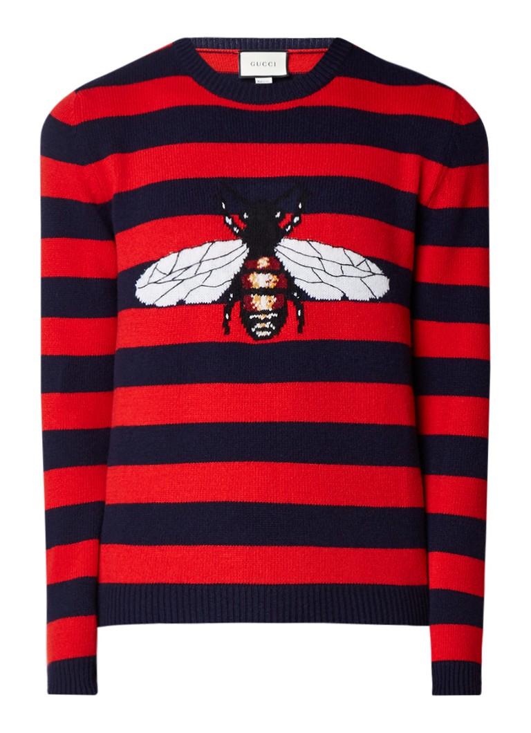 Gucci Bee trui van wol met streepdessin