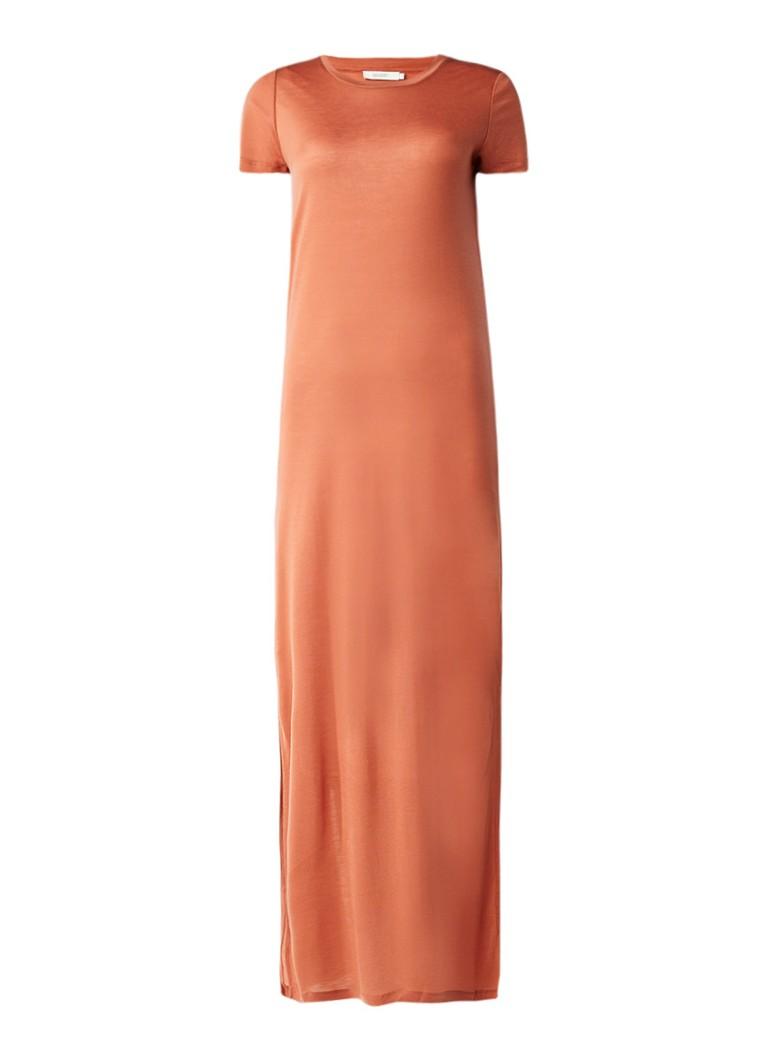 Sissy Boy Jaden maxi-jurk van jersey met split aan weerszijden roestbruin