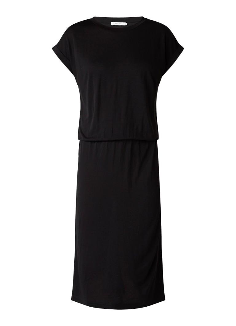 Sissy Boy Jariella midi T-shirt jurk van stretchjersey zwart