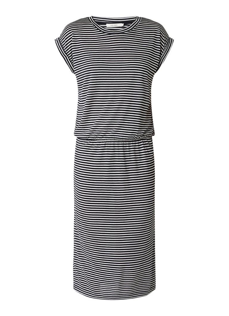 Sissy Boy Jariella jurk met streepdessin en ronde hals zwart