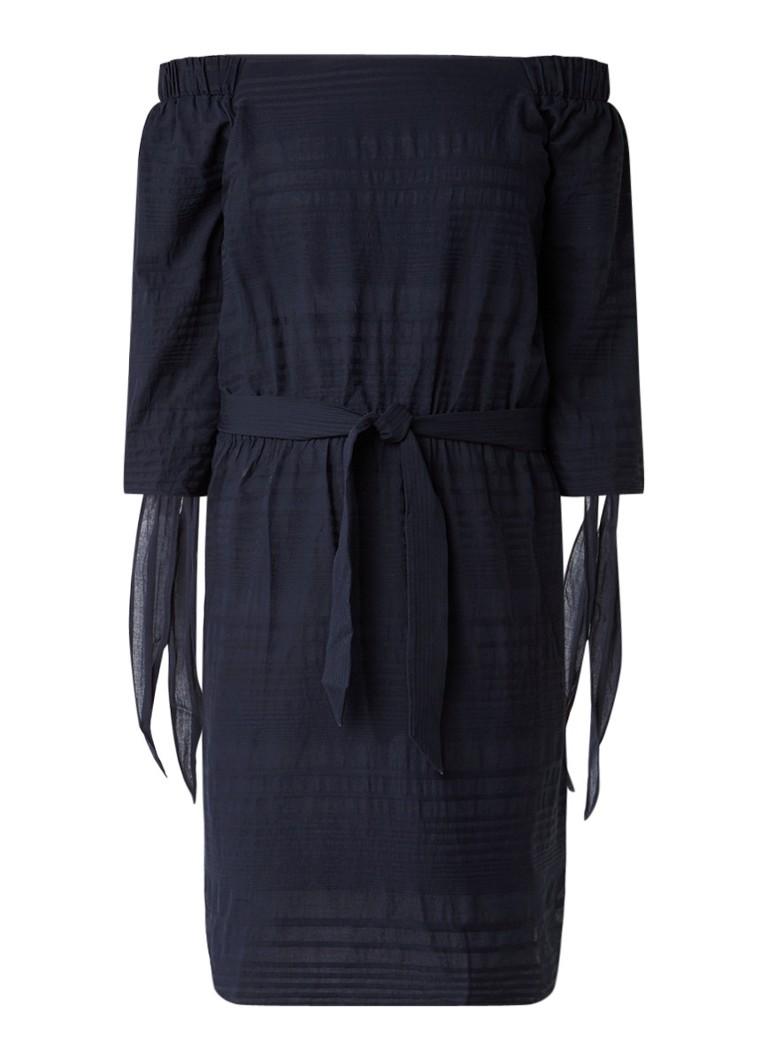 Sissy Boy Jedi off shoulder jurk met tailleceintuur donkerblauw
