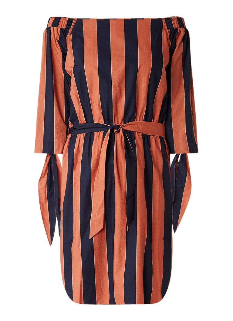Sissy Boy Jedi off-shoulder jurk met streepdessin oranje