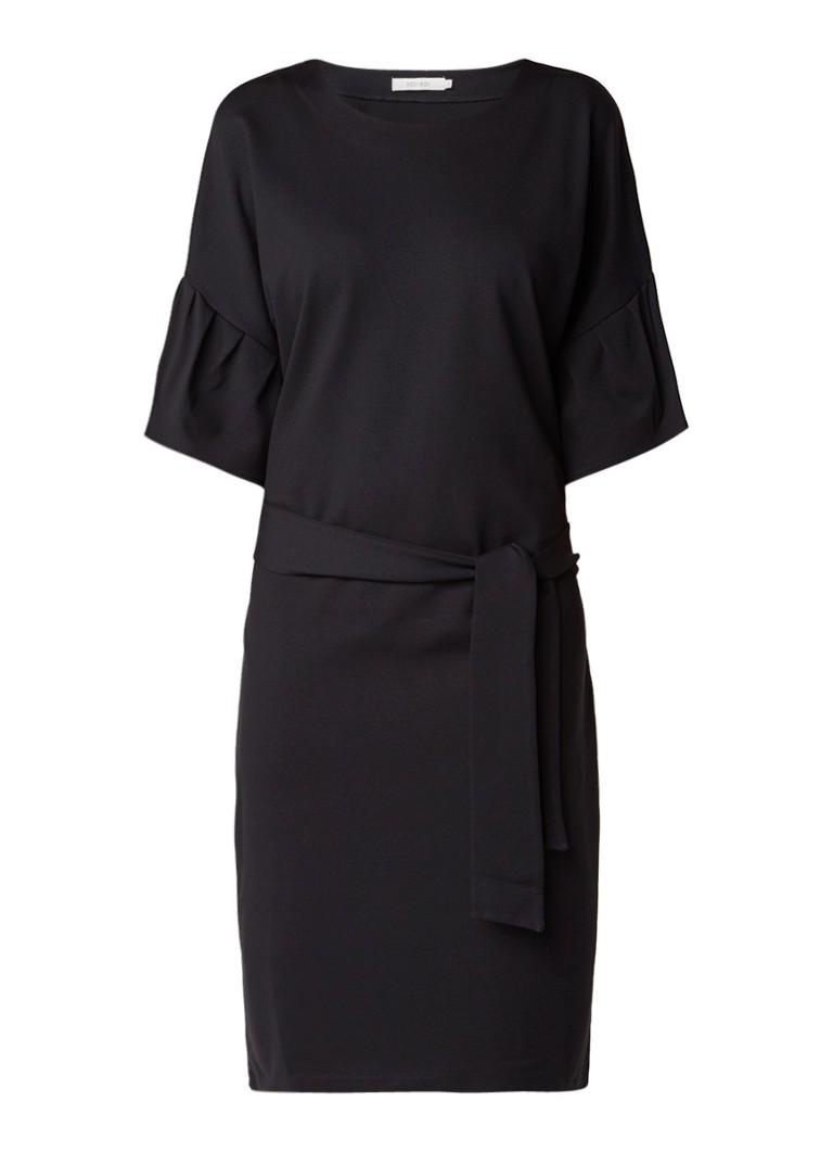 Sissy Boy Jelle midi-jurk met klokkende mouw en strikceintuur zwart