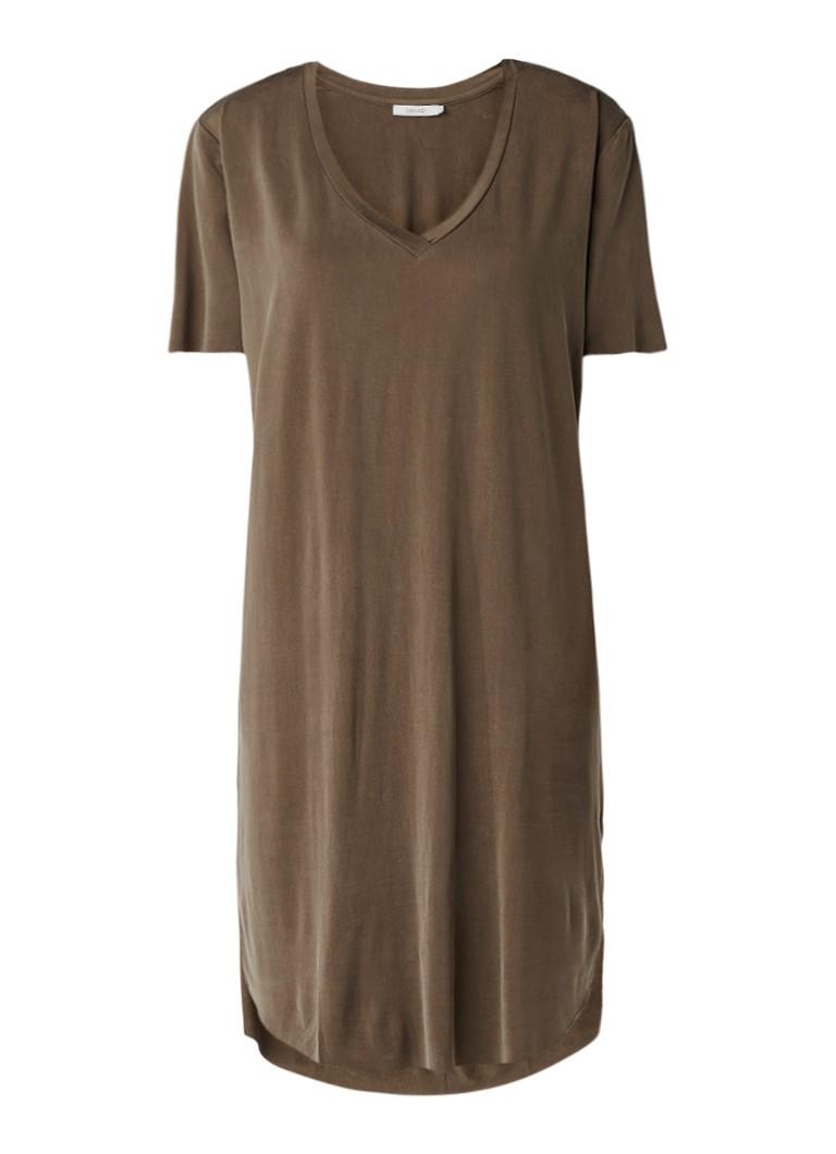 Sissy Boy Justine lange jurk met V-hals bruin