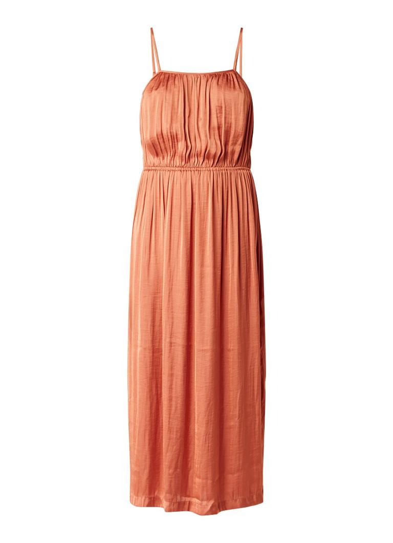 Sissy Boy Jamy geplooide maxi-jurk van satijn met zijsplits oranjerood