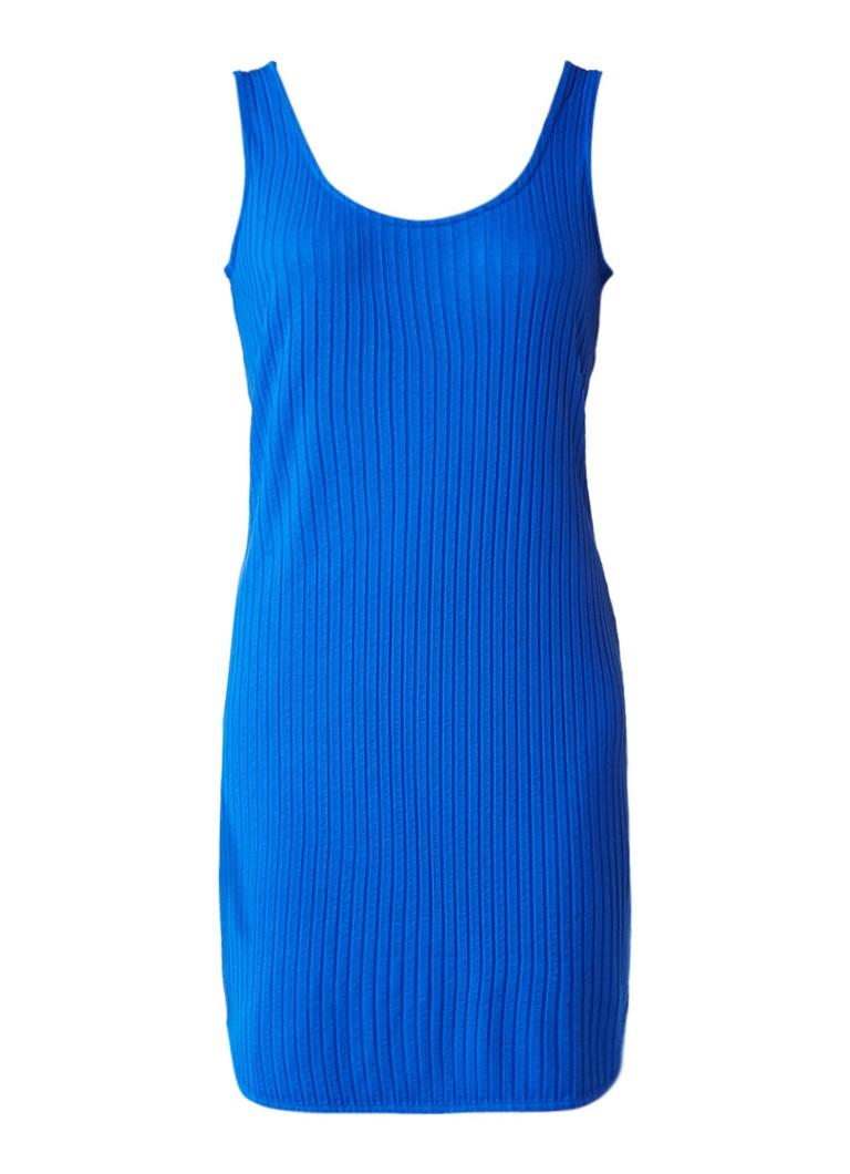 Sissy Boy Janey korte jurk van ribjersey kobaltblauw