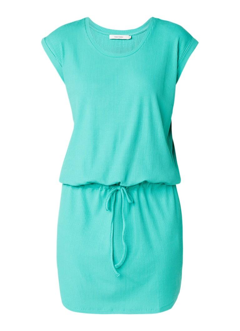Sissy Boy Joanne jersey jurk met trekkoord in taille turquoise