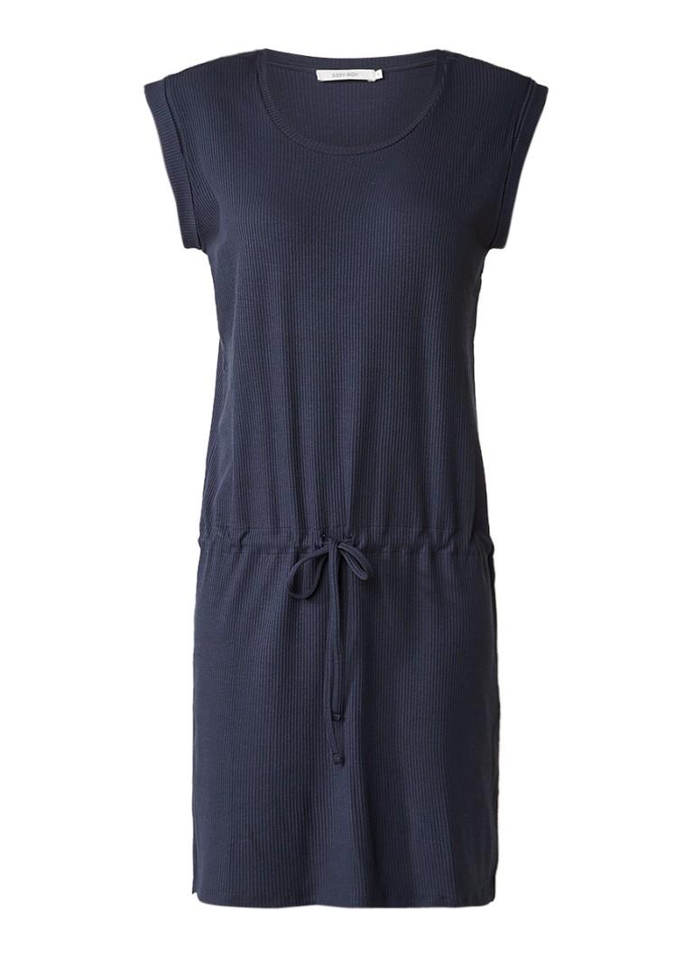 Sissy Boy Joanne ribgebreide jurk met drawstring donkerblauw