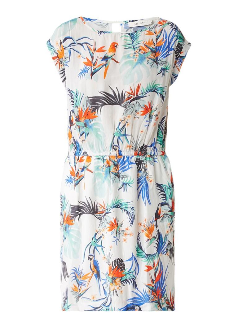 Sissy Boy Jorien jurk met tropisch dessin gebroken wit