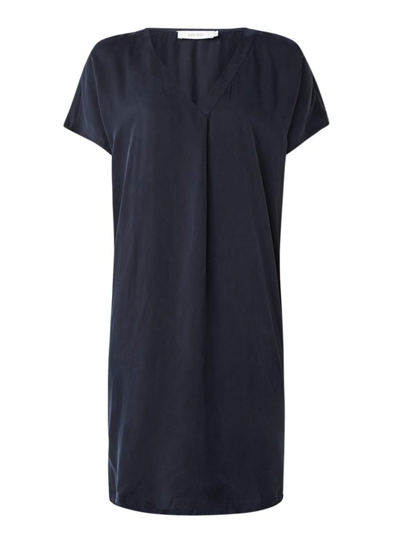 Sissy Boy Jennie jurk van cupro met V-hals donkerblauw