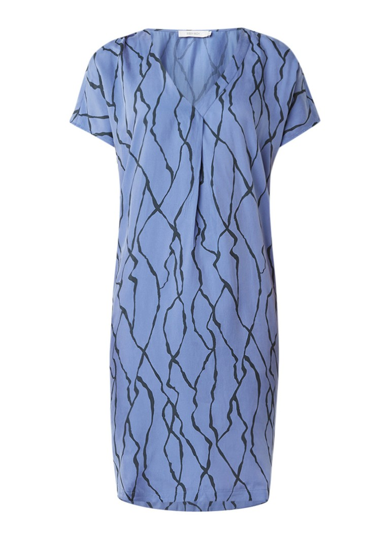 Sissy Boy Jennie jurk van cupro met V-hals en dessin lavendel