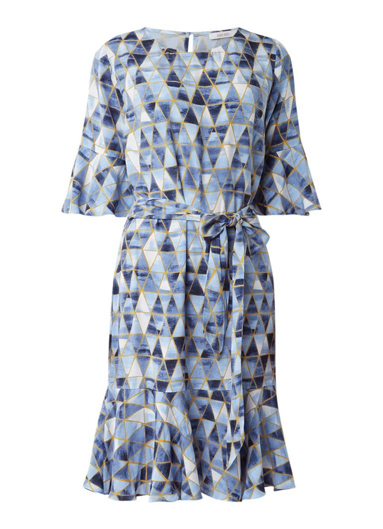 Sissy Boy Jess midi-jurk met grafisch dessin en strikceintuur blauw
